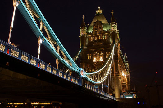 Tower Bridge, London. Seen from the Thames Path, in front of the Tower of London