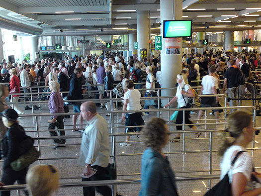Like a maze, this queue at the airport. Photo: Karl Baron