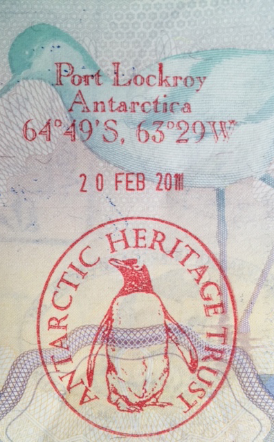 Passport stamp for Port Lockroy, Antarctica