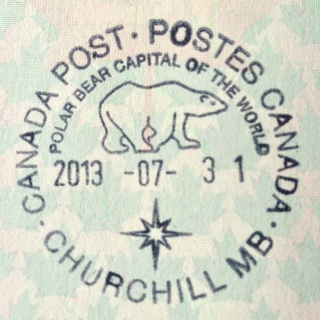 Passport stamp from Churchill, Manitoba, Canada