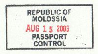 Passport stamp of the Republic of Molossia