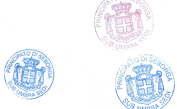 Passport stamp of the Principality of Seborga