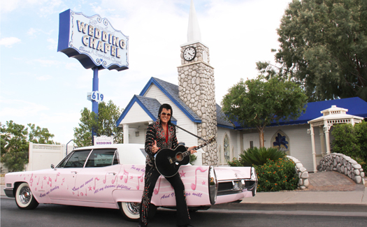 The King himself outside Graceland Wedding Chapel (Image: Graceland Wedding Chapel)